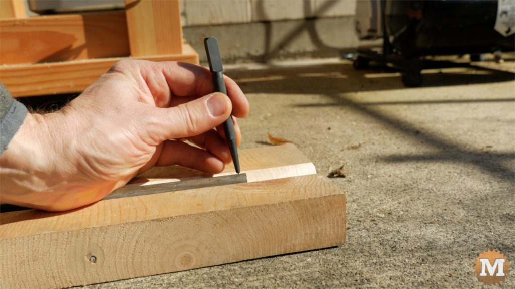 MAN about TOOLS - firewood cutting jig - center punch axle