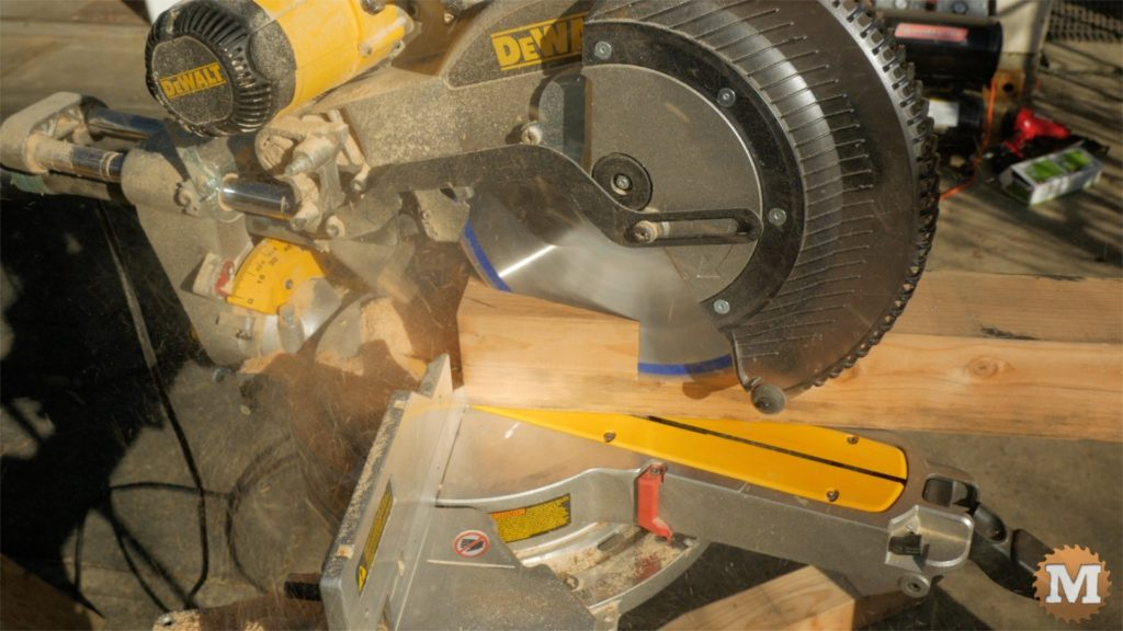 MAN about TOOLS - firewood cutting jig - angle cut supports on miter saw