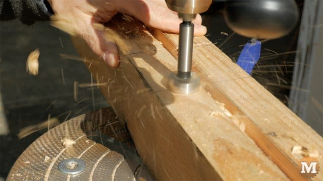 MAN about TOOLS - firewood cutting jig - supports on drill press forstner bit