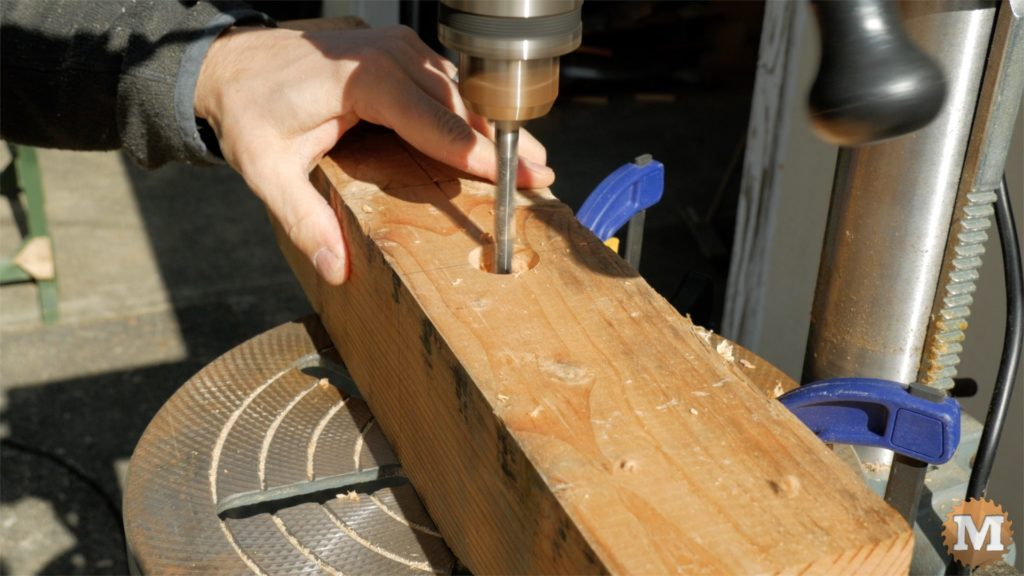 MAN about TOOLS - firewood cutting jig - supports on drill press