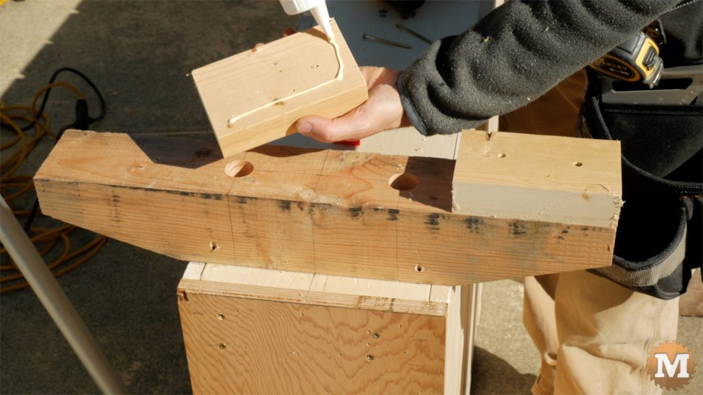 MAN about TOOLS - firewood cutting jig - attach wooden feet to front support
