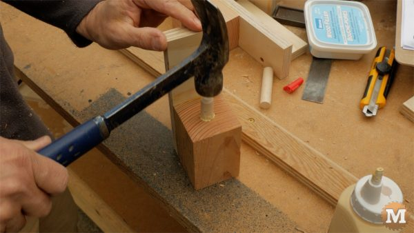 Glue dowels into block and sides - man about tools cast form mold concrete garden boxes