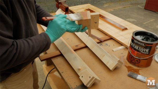 Apply 4 coats of polyurethane finish