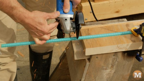 Cut rebar with angle grinder - man about tools cast form mold concrete garden boxes