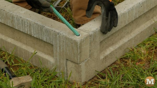 man about tools cast form mold concrete garden boxes