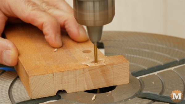 DIY One-Handed Cutting Board - drill stop on press