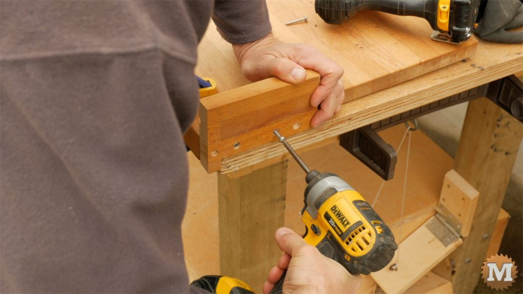Making a One-Handed Cutting Board - attaching stop with screws