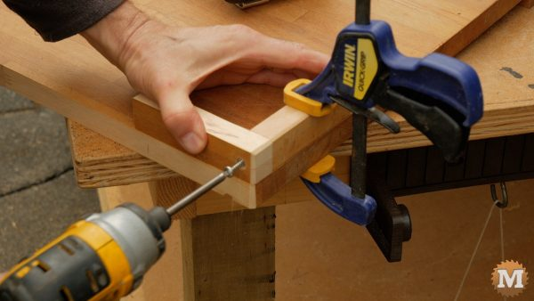 One-Handed Cutting Board - attaching corner with stainless steel screw
