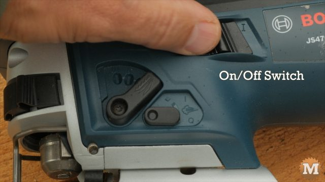 Simple on/off switch on left side of jigsaw - Bosch Jigsaw Review