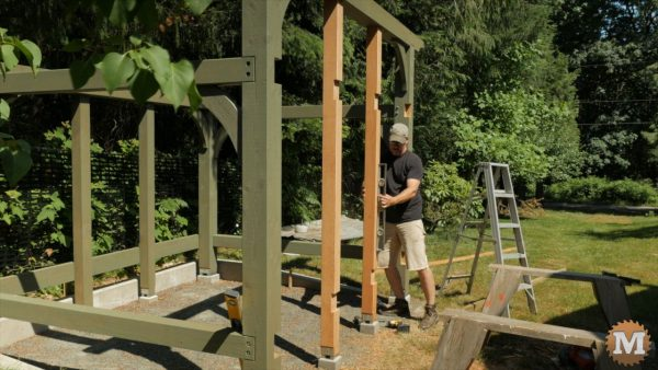 Stand up and secure doorway posts - Post and Beam Shed