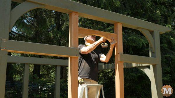Toe screw doorway header in place - Timber Frame