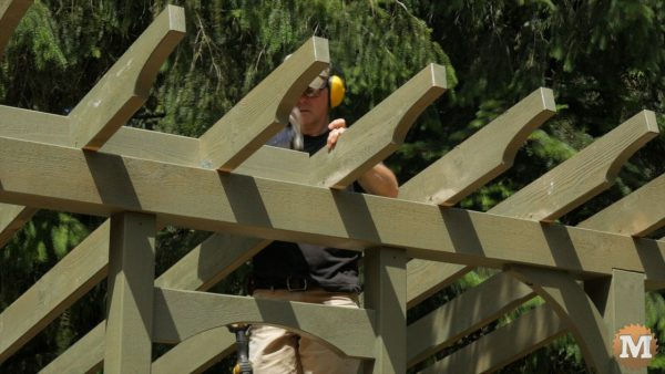 These blocks add lateral support to the rafters - wood shed plans