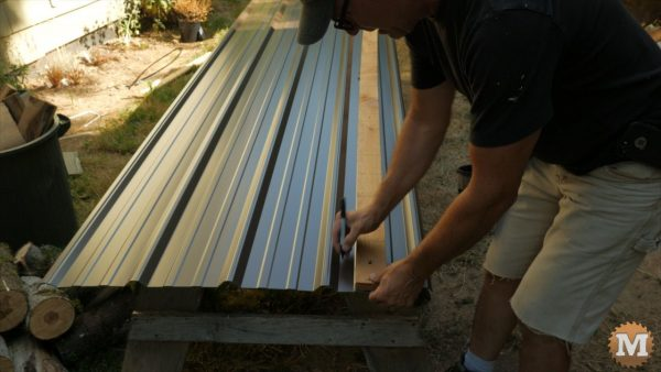 Roof panels are marked with a sharpie where screws will go.