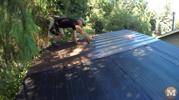 Careful to step only where a strap supports me - Roofing the Firewood Shed