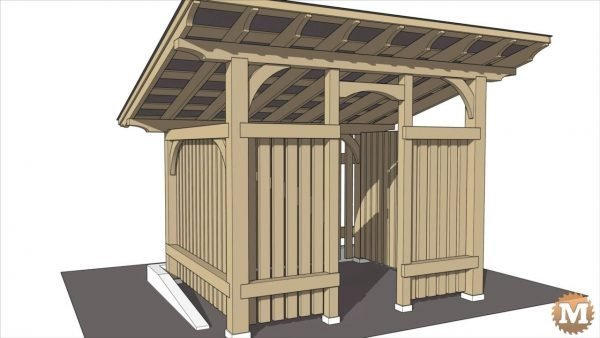 Sketchup Model of Timber Frame Style Wood Drying and Storing Shed