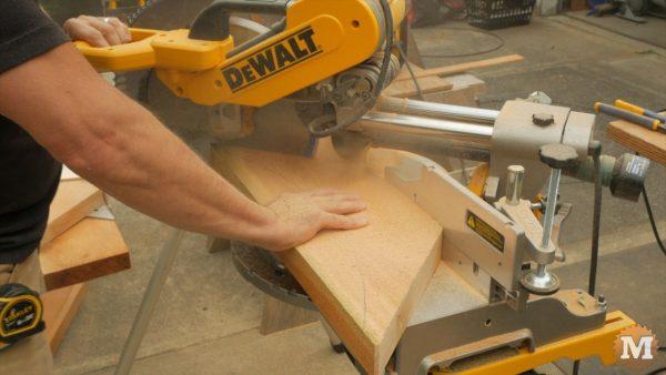 cut 45 degree angle on brace blank
