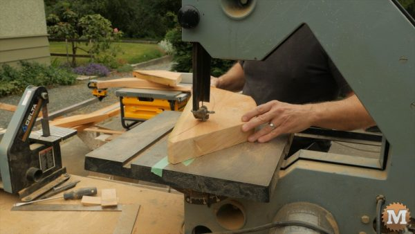 66 Timber Frame Woodshed - Cut the brace curves on the bandsaw