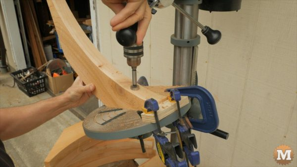 countersink bolt holes in braces on the drill press