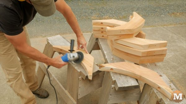 chamfering curved braces for the firewood shed