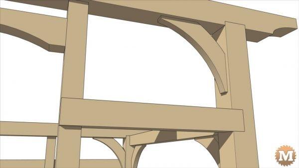 Timber Frame Firewood Shed - Curved Corner Braces