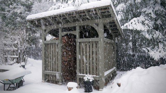 Timer Frame Woodshed in snow