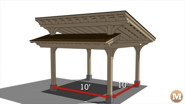 Timber Frame Pavilion on 10\' by 10\' centres