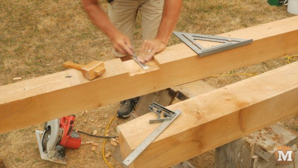 This shallow groove is made using saw and chisel - Timber Frame Gazebo