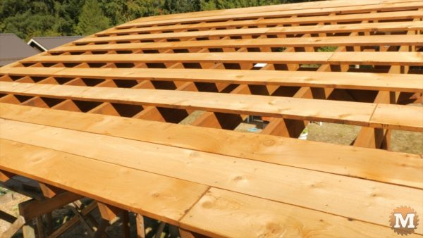 Extra strapping board at bottom and top to cover overhangs