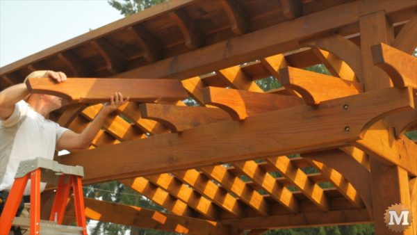 When finished, rafters installed on beams with screws