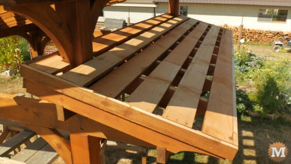 1x6 boards installed to attach roof panels to