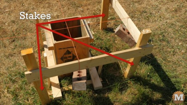 Timber Frame Pavilion - Batter boards made from stakes and level ledgers