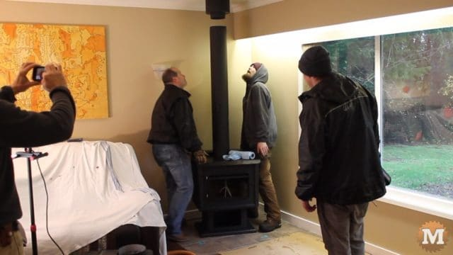Lining the stove up with the chimney