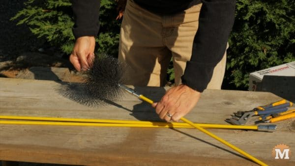Chimney Brush attached to flexible rod