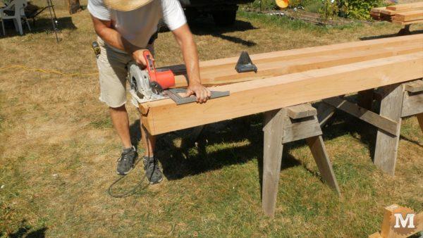 Cutting timbers with a circular saw