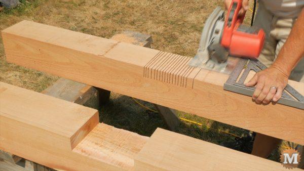 "Front post deep slot cut with circular saw blade 2\"" deep"