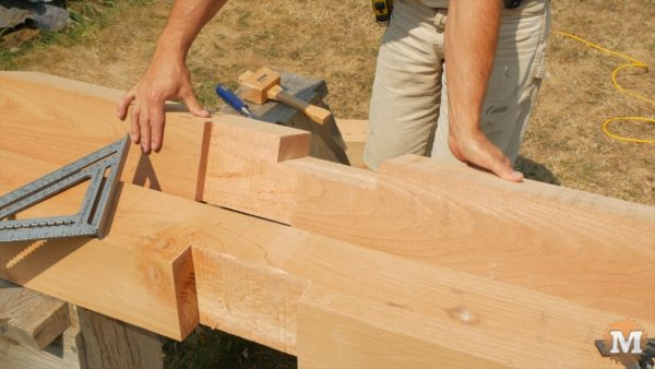 """One next face of front post a 1\"""" deep slot is cut to accept the upper side front roof beam"""