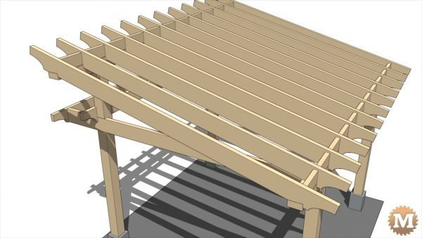 Twelve 2x8 full dimension fir roof rafters make up the main roof