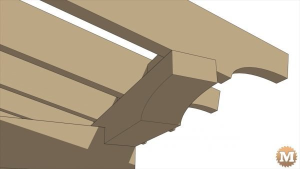 Detail of how the rafters sit on the rear beam