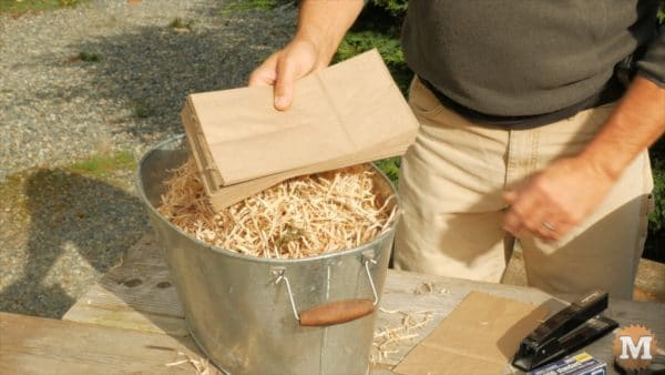 Dried fire shavings and paper lunch bags