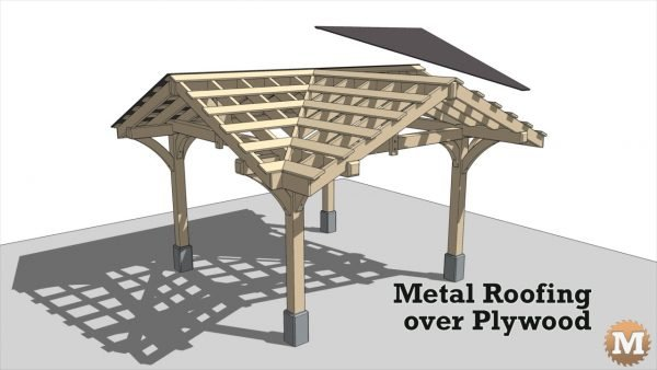 Three Gable Pavilion - Metal roof panels over plywood