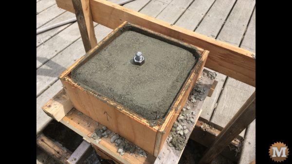 poured concrete piers curing