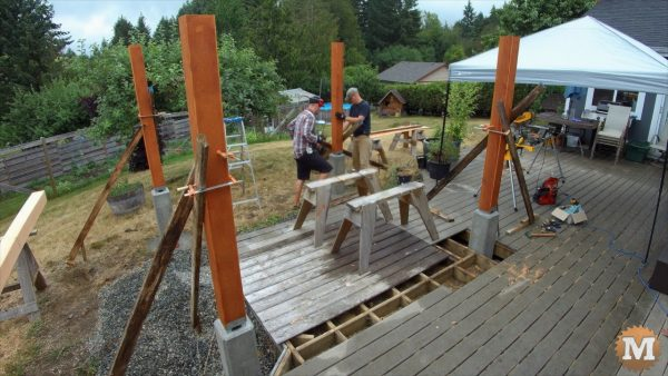 setting the pavilion posts in their galvanized saddles
