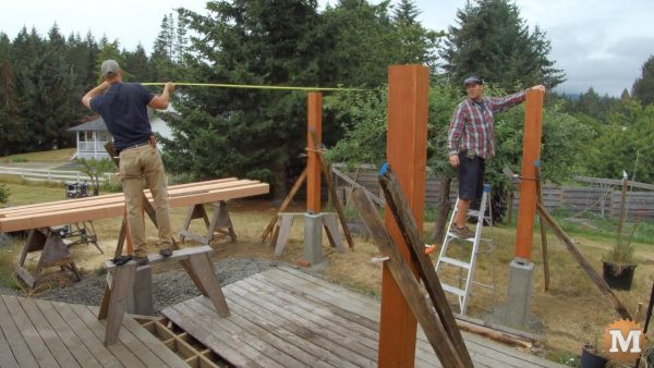 Checking all post dimensions before laying out and cutting any beams