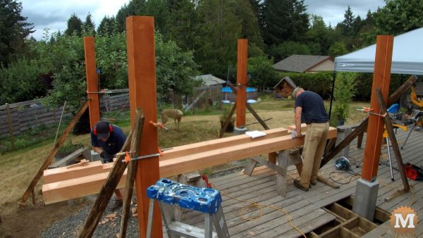 Three Gable Pavilion - Cutting grooves in first beams.