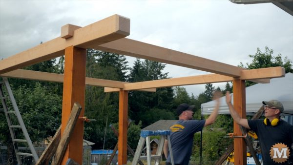 end of first raising day of the Three Gable Timber Frame style Pavilion project