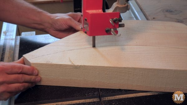 bandsaw cutting the curved corner braces for the Pavilion