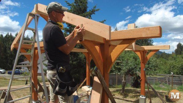 installing Douglas fir rough sawn rafters