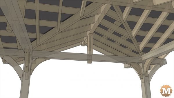 Underside view of all the rafters in place. Along with roof strapping