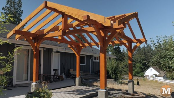main structure of the Three Gable Timber Frame style Pavilion before roofing added