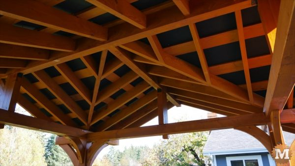 Valley and Jack rafters of the Three Gable Timber Frame style Pavilion stained